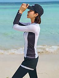halpa -JIAAO Naisten Skin-tyyppinen märkäpuku Sukelluspuvut Pidä lämpimänä UV-aurinkosuojaus Full Body Etuvetoketju - Uinti Sukellus Vesiurheilu Patchwork Syksy Kevät Kesä / Elastinen