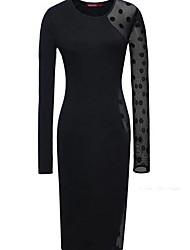 Недорогие -женское платье длиной до колен в линию черный s m l xl