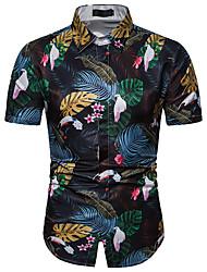 お買い得  -男性用 プリント シャツ フラワー ネイビーブルー XL