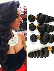 billige -4 pakker Indisk hår Løst, bølget hår Ubehandlet Menneskehår 100% Remy Hair Weave Bundles Hovedstykke Menneskehår, Bølget Bundle Hair 8-28 inch Naturlig Farve Menneskehår Vævninger Moderigtigt Design