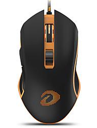 levne -dareu em905 drátové usb optická herní myš žlutá podsvícená 4000 dpi 5 nastavitelná dpi úrovně 6 ks klíče