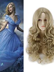 halpa -Synteettiset peruukit Kihara Tyyli Keskiosa Suojuksettomat Peruukki Kulta Vaaleahiuksisuus Synteettiset hiukset 22 inch Naisten Party Kulta Peruukki Pitkä Luonnollinen peruukki