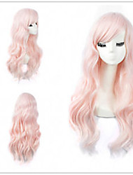 cheap -Synthetic Wig Wavy Avril Style Bob Capless Wig Pink Pink Synthetic Hair 20 inch Women's Elastic / Party / Women Pink Wig Medium Length Cosplay Wig / Yes