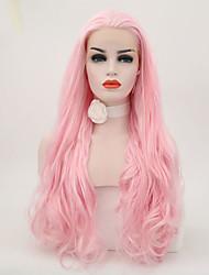 Χαμηλού Κόστους -Συνθετικές μπροστινές περούκες δαντέλας Κυματιστό Στυλ Ελεύθερο μέρος Δαντέλα Μπροστά Περούκα Ροζ Ροζ Συνθετικά μαλλιά 24 inch Γυναικεία Ρυθμιζόμενο / Ανθεκτικό στη Ζέστη / Πάρτι Ροζ Περούκα Μακρύ
