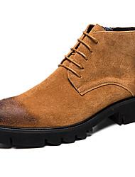 levne -Pánské Fashion Boots Semiš / Syntetický Podzim zima Na běžné nošení / Bristké Boty Zahřívací Kotníčkové Černá / Šedá / Hnědá