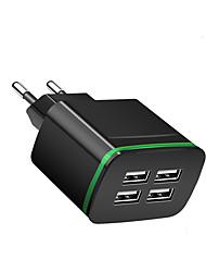 Недорогие -Портативное зарядное устройство Зарядное устройство USB Евро стандарт Несколько разъемов 4 USB порта 2.1 A 100~240 V для Универсальный