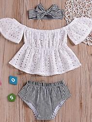 זול -סט של בגדים שרוולים קצרים פסים בנות תִינוֹק