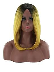 levne -Syntetické paruky Rovné, bláznivé Styl Střední část Bez krytky Paruka Tónované Žlutá Umělé vlasy 12 inch Dámské Zářící barvy Tónované Paruka Dlouhý Přírodní paruka