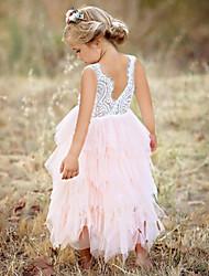 Недорогие -Дети Девочки Милая Повседневные На выход Однотонный Сетка Без рукавов До колена Платье Белый
