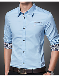 cheap -Men's Shirt - Solid Colored Blue XXL