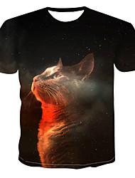 billiga -Tryck, Färgblock / 3D / Djur T-shirt Herr Svart XXXXL