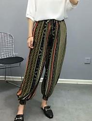 povoljno -Žene Osnovni Harem hlače Hlače - Print Djetelina Crn Red XL XXL XXXL