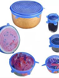 billige -6 stk. Gjenbrukbar silikonstrekningslokk universell lokk silikon matpakke bøttepotte deksel silikondeksel pan matlaging kjøkkenstopper