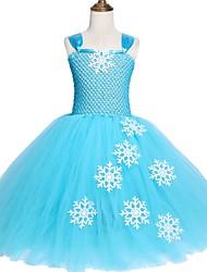 お買い得  -子供 / 幼児 女の子 甘い / かわいいスタイル ソリッド メッシュ ノースリーブ ミディ スパンデックス ドレス ライトブルー
