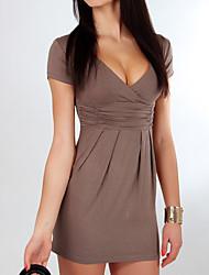 Недорогие -Жен. Хлопок Облегающий силуэт Платье V-образный вырез Мини