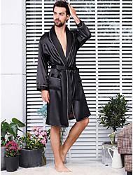Недорогие -Муж. Пэчворк Большие размеры Сексуальные платья Шёлк и сатин Ночное белье Однотонный Черный XXXL XXXXL XXXXXL / V-образный вырез / Осень