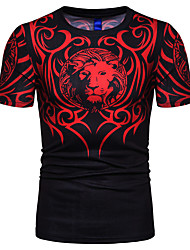 billige -Herre - Geometrisk / Dyr Trykt mønster T-shirt Sort XL