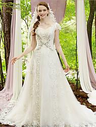 7af73d982625 cheap Wedding Dresses-Disney Style A-Line V Neck Chapel Train Lace   Tulle