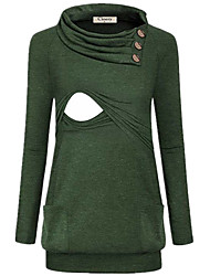 お買い得  -女性用 パッチワーク Tシャツ ソリッド