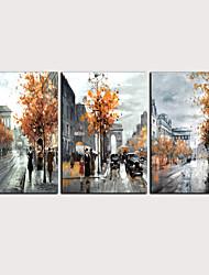 billige -Trykk Valset lerretskunst - Abstrakt Landskap Klassisk Moderne Tre Paneler