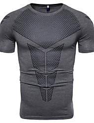 abordables -Hombre Estampado Camiseta Geométrico Gris Oscuro XL