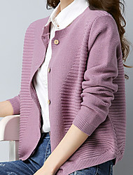 cheap -Women's Solid Colored Long Sleeve Cardigan, Pullover Fall / Winter Black / Red / Purple L / XL / XXL