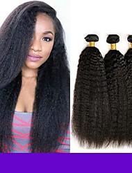 economico -6 pacchi Indiano Kinky liscia capelli naturali Remy Ciocche a onde capelli veri Bundle di capelli Un pacchetto di soluzioni 8-28inch Colore Naturale Tessiture capelli umani Cascata Carino Sicurezza