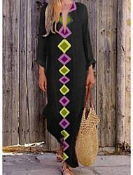 economico -Per donna Essenziale Tubino Vestito - Con stampe, Fantasia geometrica Maxi