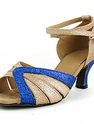 abordables -Mujer Zapatos de Baile Latino Sintéticos Tacones Alto Corbata de Lazo / Brillante Tacón Cubano Zapatos de baile Dorado