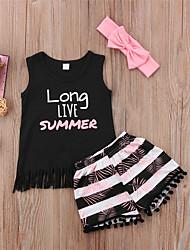 hesapli -Toddler Genç Kız Temel / Boho Çizgili Püskül / Desen Kolsuz Normal Pamuklu / Polyester / Splandeks Kıyafet Seti Siyah