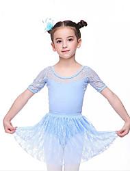 ราคาถูก -ชุดเต้นสำหรับเด็ก / ชุดเต้นบัลเล่ย์ Outfits เด็กผู้หญิง การฝึกอบรม / Performance ฝ้าย โบว์ / ลูกไม้ แขนสั้น ธรรมชาติ กระโปรง / ชุดแนบเนื้อสำหรับการเต้น