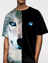 お買い得  -男性用 Tシャツ 動物 ブラック XXL