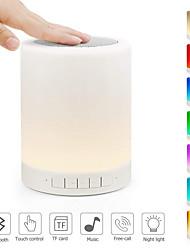 abordables -1 pc usb lumière de nuit bluetooth haut-parleur capteur tactile lampe de table de chevet dimmable couleur lampe de bureau lumière de nuit avec support micro aux tf carte 36 v