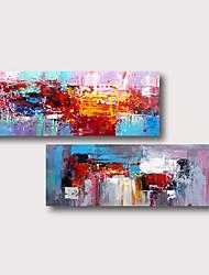 Недорогие -ручная роспись натянутая картина маслом холст готов повесить абстрактный стиль материал высокое качество синий фиолетовый красный