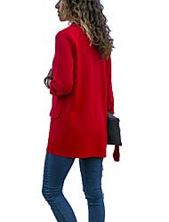 abordables -Femme Quotidien Printemps & Automne Normal Veste, Couleur Pleine Col Droit Manches Longues Spandex Noir / Rouge / Marine XL / XXL / XXXL