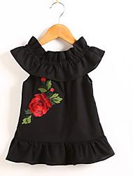 お買い得  -赤ちゃん 女の子 ベーシック フラワー ノースリーブ ポリエステル ドレス ブラック