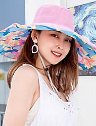 billige -Dame Aktiv Basale Sød Stil Solhat-Bomuld Polyester Ensfarvet Blomstret Forår Sommer Lilla Rosa Lyseblå