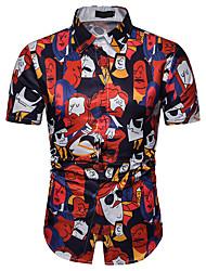 baratos -Homens Camisa Social Estampado, Retrato Vermelho XL
