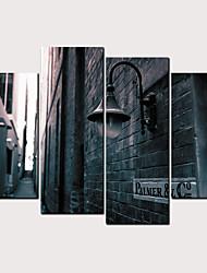 hesapli -Boyama Haddelenmiş Kanvas Tablolar - Manzara Mimari Klasik Modern Dört Panelli