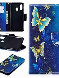 Недорогие -Кейс для Назначение SSamsung Galaxy A6 (2018) / A6+ (2018) / Galaxy A7(2018) Кошелек / Бумажник для карт / со стендом Чехол Бабочка Твердый Кожа PU