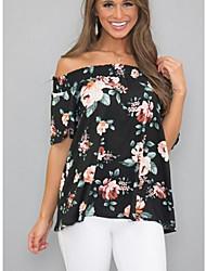 economico -T-shirt Per donna Fantasia floreale Nero L