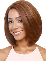 cheap -Synthetic Wig kinky Straight Style Middle Part Capless Wig Brown Light Brown / Auburn Synthetic Hair 12 inch Women's Women Brown Wig Short Natural Wigs