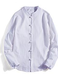 baratos -Homens Camisa Social Sólido Branco XXXL