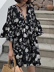 billiga -kvinnornas knälängd en linje klänning v hals vit svart m l xl xxl