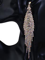 baratos -Mulheres Cristal Clássico Brincos Compridos Imitações de Diamante Brincos Fashion Jóias Arco-íris / Branco e Prateado / Dourado / Branco Para Diário Festival 1 par