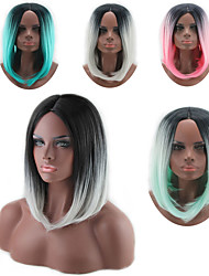cheap -Synthetic Wig kinky Straight Style Middle Part Capless Wig White Black / White Pink Green Synthetic Hair 12 inch Women's Color Gradient White Wig Long Natural Wigs