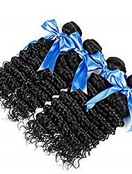 Недорогие -4 Связки Индийские волосы Крупные кудри Необработанные натуральные волосы Человека ткет Волосы Пучок волос Накладки из натуральных волос 8-28 дюймовый Естественный цвет Ткет человеческих волос