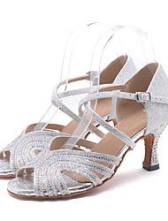 abordables -Mujer Zapatos de Baile Latino Sintéticos Tacones Alto Corte Tacón Carrete Personalizables Zapatos de baile Plata / Verde / Rosa