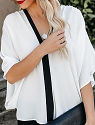 お買い得  -女性用 シャツ カラーブロック ホワイト M