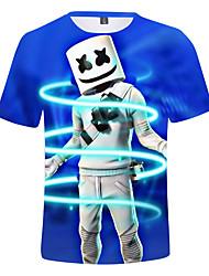 billige -Barn Gutt Aktiv Trykt mønster Kortermet Bomull / Spandex T-skjorte Marineblå